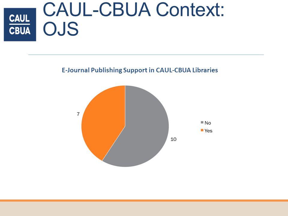CAUL-CBUA Context: OJS E-Journal Publishing Support in CAUL-CBUA Libraries