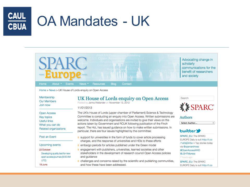 OA Mandates - UK