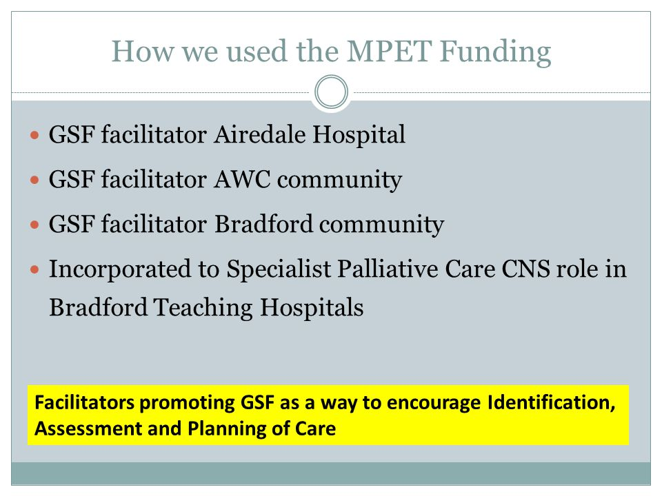 MPET in Community Posts Communication Skills training EPaCCS Template training GPs /DNs / Practice teams Supporting GSF meetings Gold Line Service Audit and evaluation Baseline questionnaires and data GSF Good Practice Guide EPaCCS training-EOL template for all practices 2 day Mandatory training DNs and others