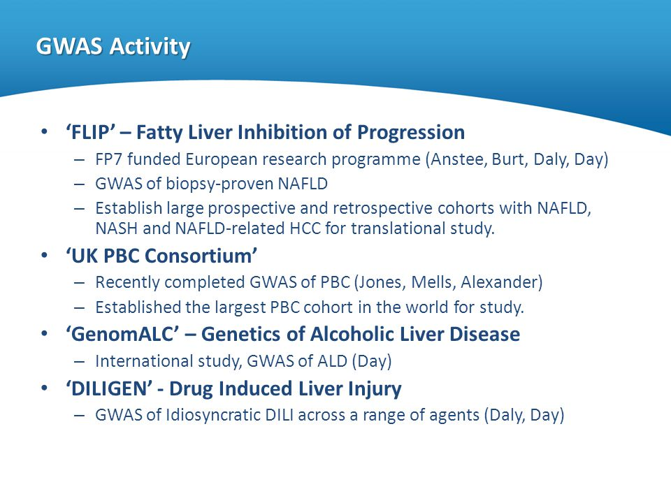 GWAS Activity FLIP – Fatty Liver Inhibition of Progression – FP7 funded European research programme (Anstee, Burt, Daly, Day) – GWAS of biopsy-proven