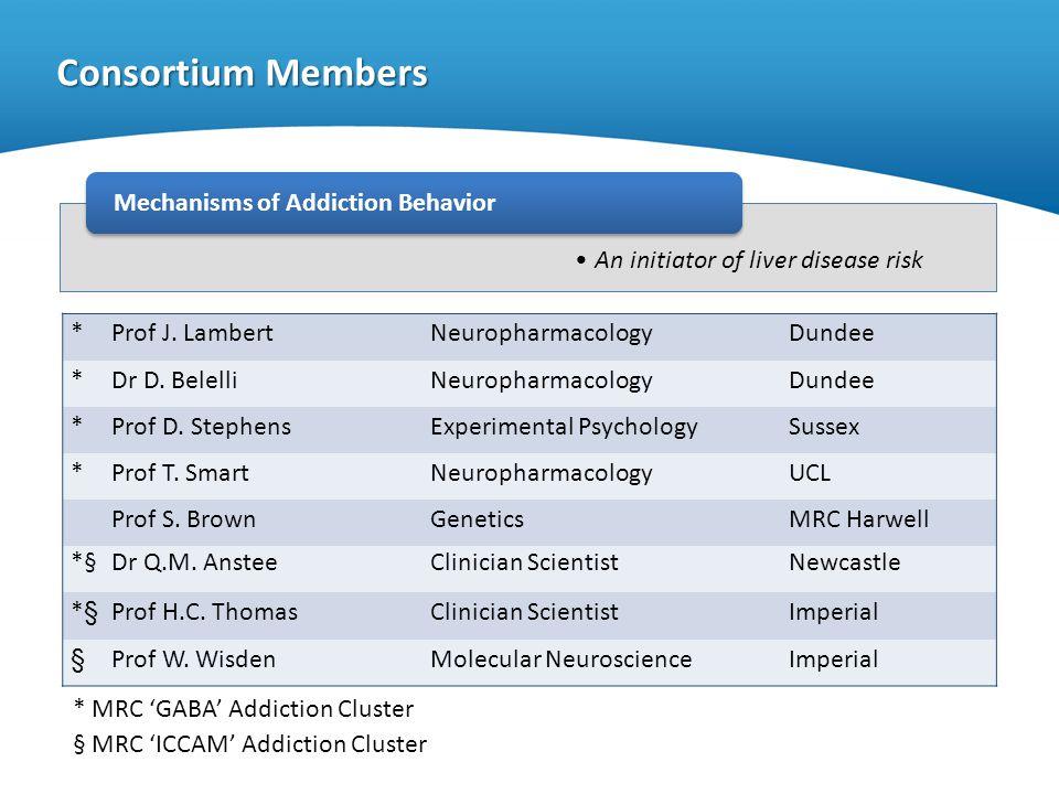An initiator of liver disease risk Consortium Members Mechanisms of Addiction Behavior * Prof J. LambertNeuropharmacologyDundee * Dr D. BelelliNeuroph