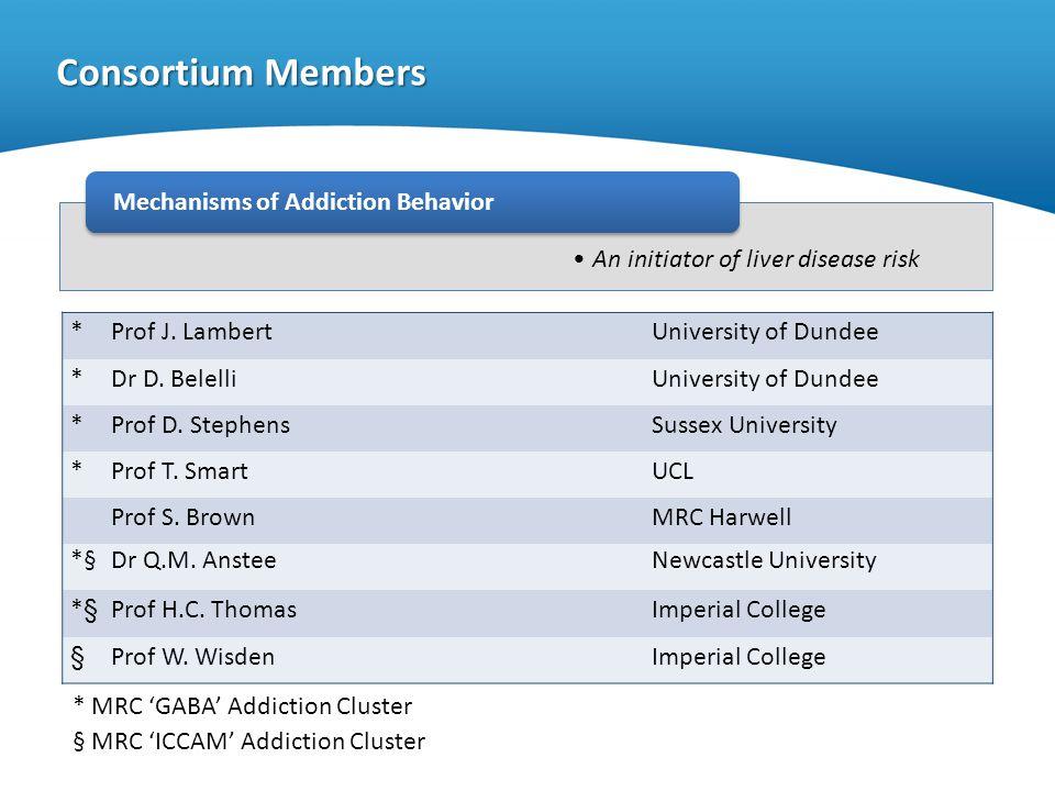 An initiator of liver disease risk Consortium Members Mechanisms of Addiction Behavior * Prof J. LambertUniversity of Dundee * Dr D. BelelliUniversity