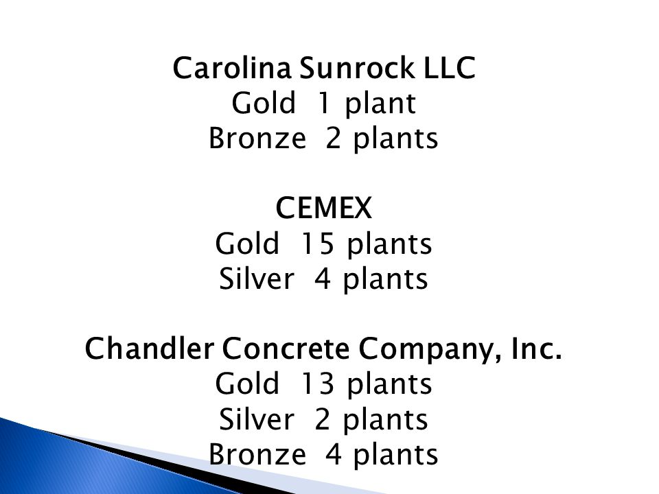 Carolina Sunrock LLC Gold 1 plant Bronze 2 plants CEMEX Gold 15 plants Silver 4 plants Chandler Concrete Company, Inc.