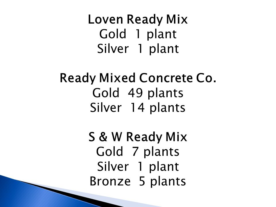 Loven Ready Mix Gold 1 plant Silver 1 plant Ready Mixed Concrete Co.