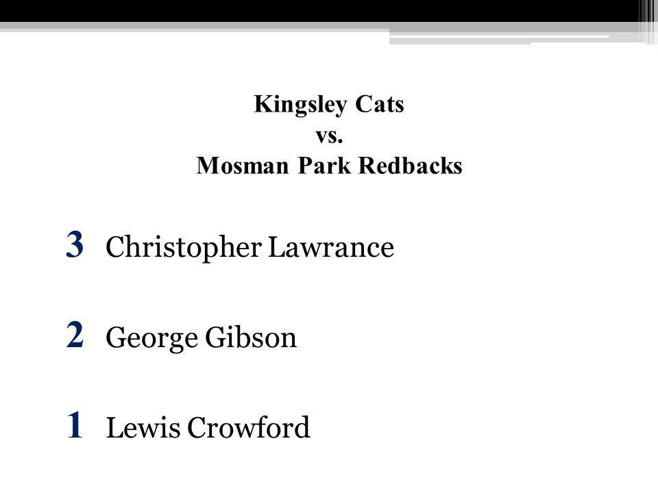 Kingsley Cats vs. Mosman Park Redbacks 3 Christopher Lawrance 2 George Gibson 1 Lewis Crowford
