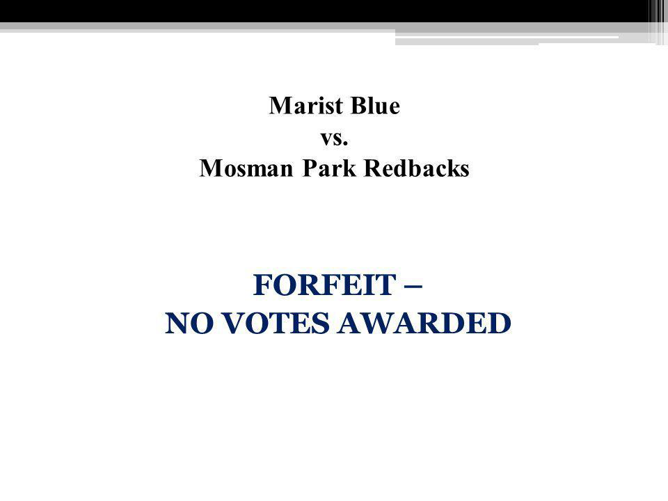 Marist Blue vs. Mosman Park Redbacks FORFEIT – NO VOTES AWARDED