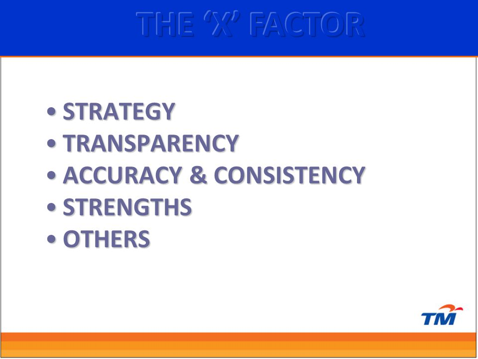STRATEGYSTRATEGY TRANSPARENCYTRANSPARENCY ACCURACY & CONSISTENCYACCURACY & CONSISTENCY STRENGTHSSTRENGTHS OTHERSOTHERS