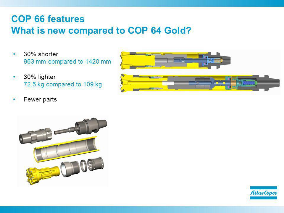 30% shorter 963 mm compared to 1420 mm 30% lighter 72,5 kg compared to 109 kg Fewer parts COP 66 features What is new compared to COP 64 Gold?