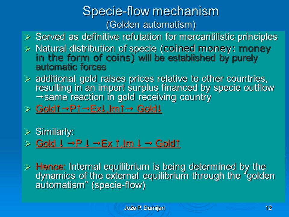 Jože P. Damijan12 Specie-flow mechanism (Golden automatism) Served as definitive refutation for mercantilistic principles Served as definitive refutat