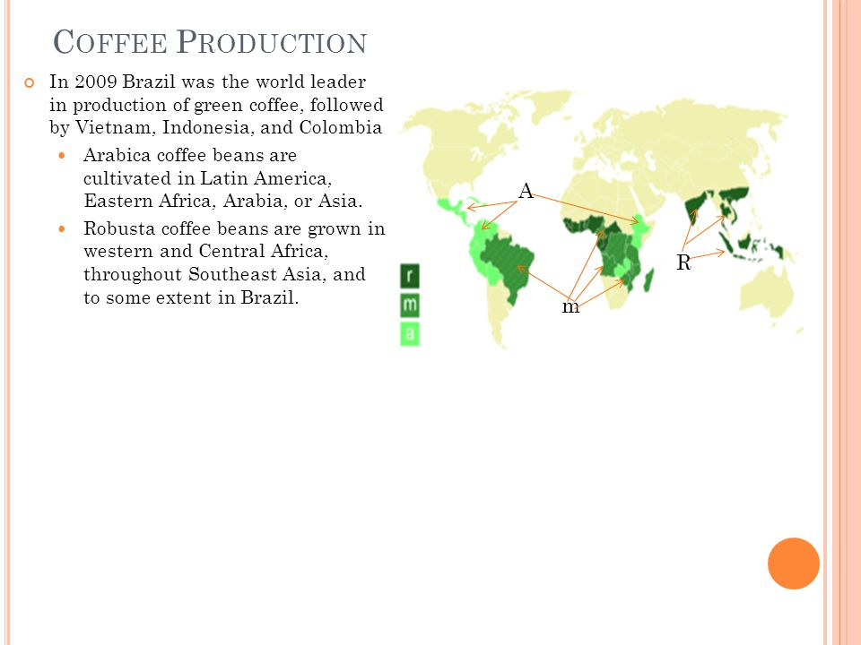 C OFFEE P RODUCTION In 2009 Brazil was the world leader in production of green coffee, followed by Vietnam, Indonesia, and Colombia Arabica coffee beans are cultivated in Latin America, Eastern Africa, Arabia, or Asia.