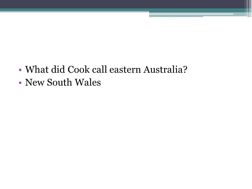 What did Cook call eastern Australia? New South Wales