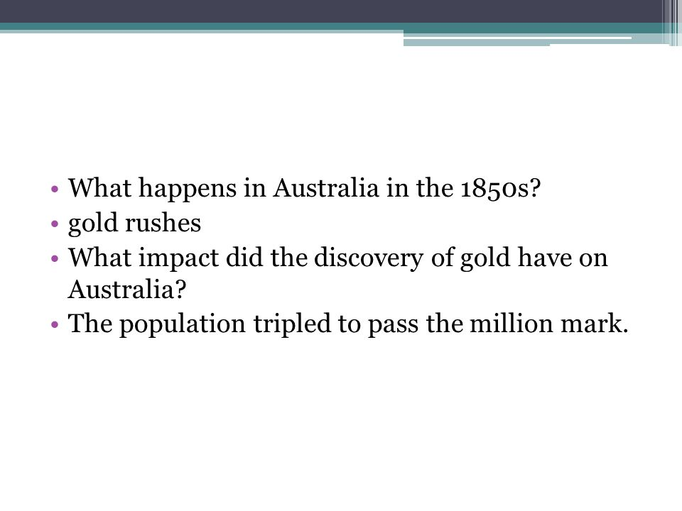 What happens in Australia in the 1850s.