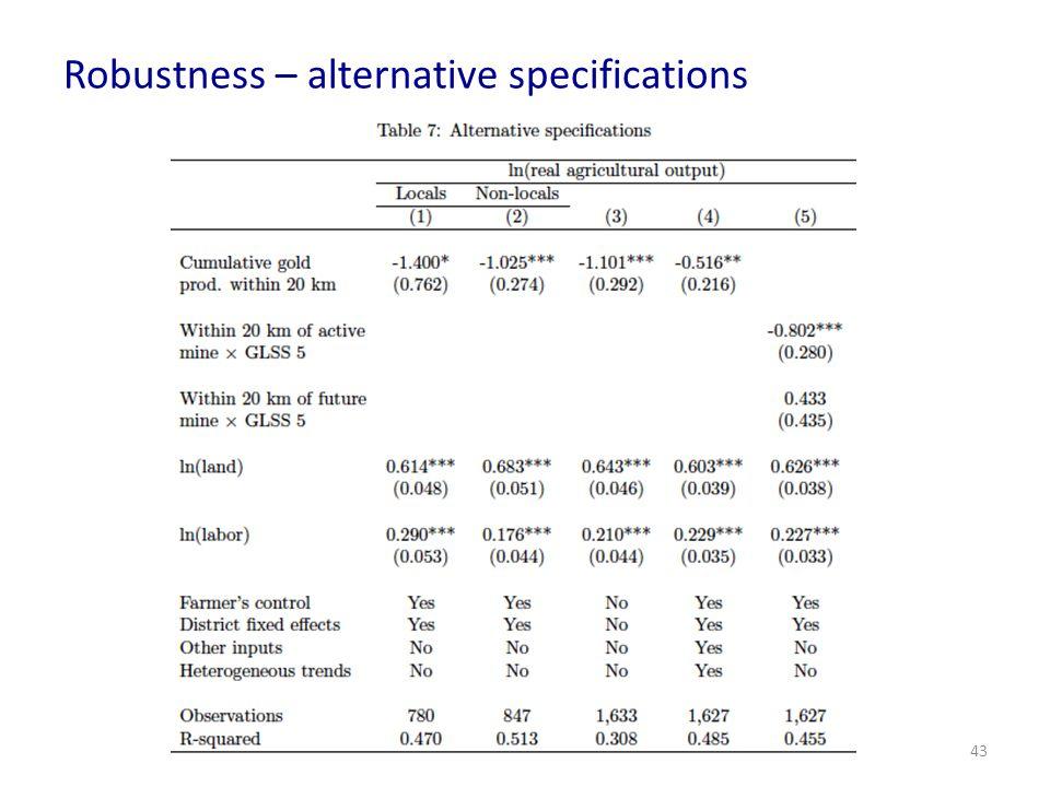 Robustness – alternative specifications 43