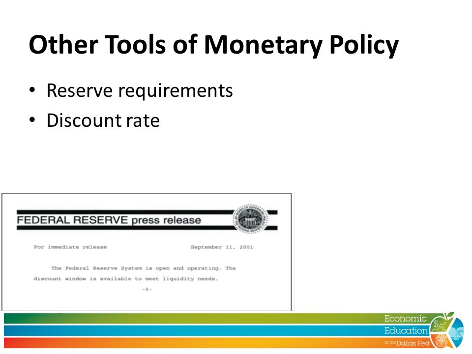 Other Tools of Monetary Policy Reserve requirements Discount rate