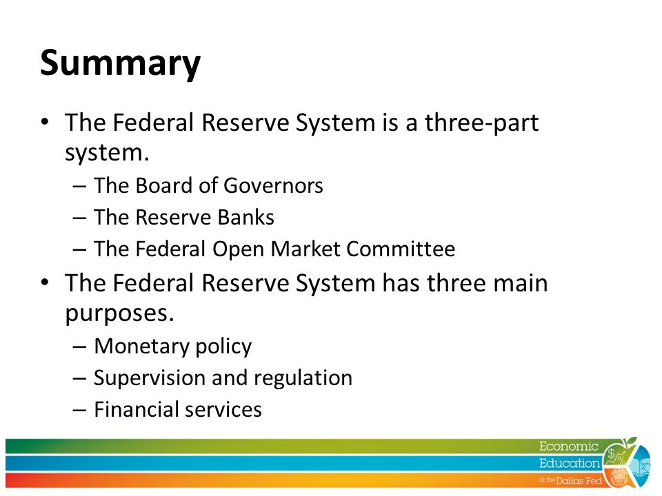 Summary The Federal Reserve System is a three-part system.