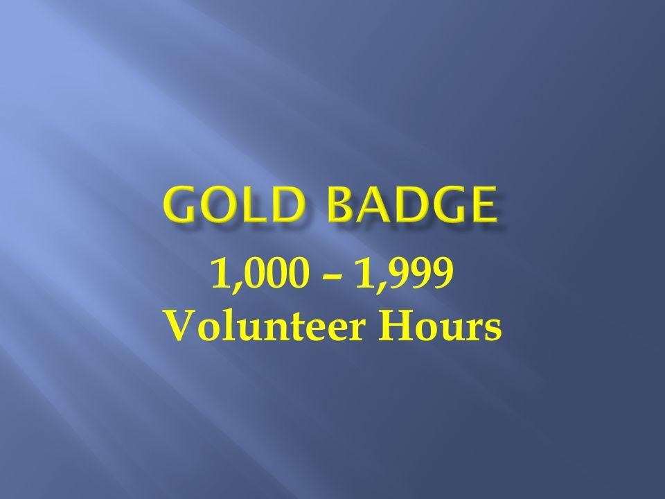 1,000 – 1,999 Volunteer Hours