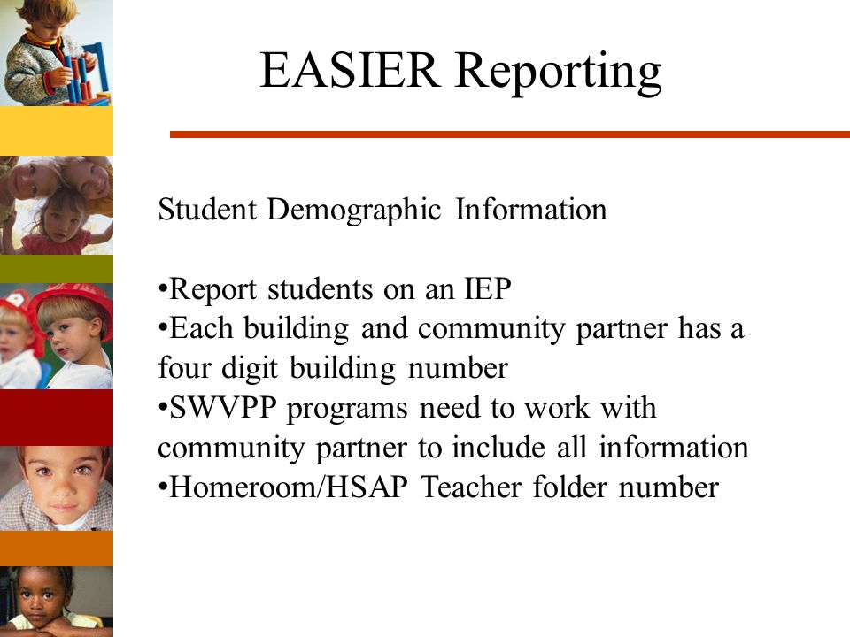 EASIER Reporting Program Information Attending an SWVPP classroom Required Program Standards Sources of funding SWVPP Shared Visions Title I Head Start Empowerment (ECI) Parent