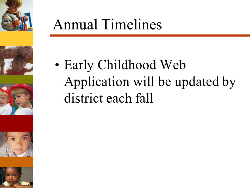 Annual Timelines Early Childhood Web Application will be updated by district each fall