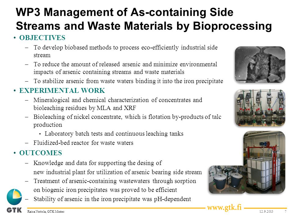 WP3 Management of As-containing Side Streams and Waste Materials by Bioprocessing OBJECTIVES –To develop biobased methods to process eco-efficiently i