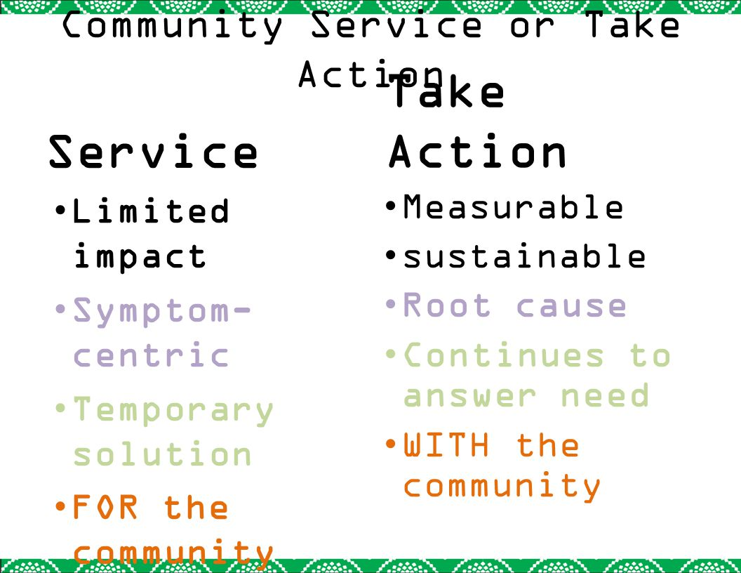 Sustainability A Take Action project must be sustainable, continuing after your involvement is complete.