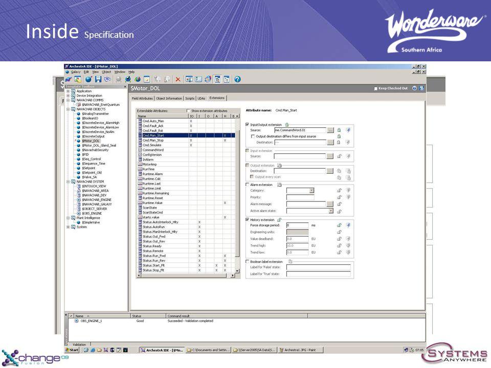 PLC ArchestrA Interface Standard DOL Motor Inside Specification