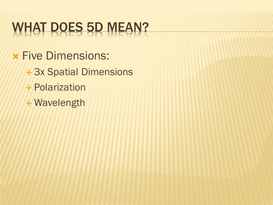 Five Dimensions: 3x Spatial Dimensions Polarization Wavelength