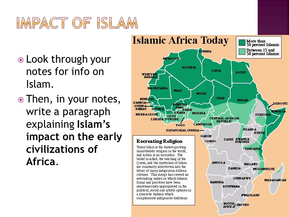 Look through your notes for info on Islam. Then, in your notes, write a paragraph explaining Islams impact on the early civilizations of Africa.