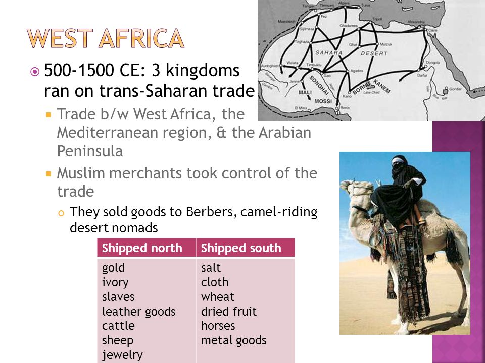 Ghana exported gold & imported salt Ghana known as land of gold Kings became rich taxing the gold & the salt Invading Islamic armies & merchants spread Islam Scholars, who taught about Islam, came too Ghanas city dwellers (including the kings advisers) converted to Islam, but farmers didnt Ghana became weak from North African Islamic armies, but Mali finally conquered in 1240
