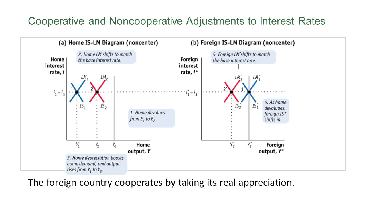 Cooperative and Noncooperative Adjustments to Interest Rates The foreign country cooperates by taking its real appreciation.