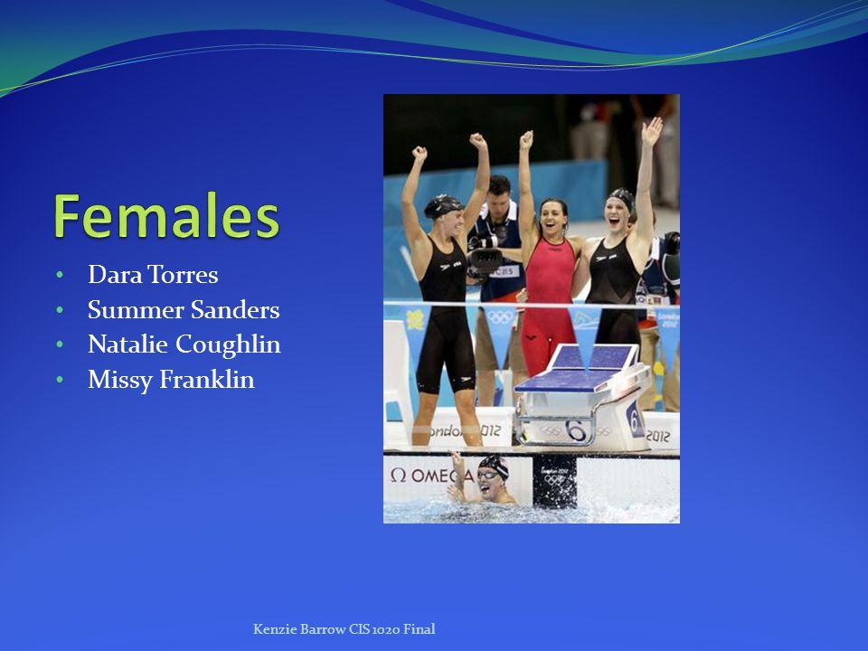 Dara Torres Summer Sanders Natalie Coughlin Missy Franklin Kenzie Barrow CIS 1020 Final