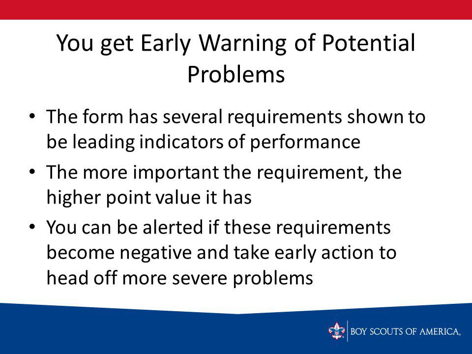 You get Early Warning of Potential Problems The form has several requirements shown to be leading indicators of performance The more important the requirement, the higher point value it has You can be alerted if these requirements become negative and take early action to head off more severe problems