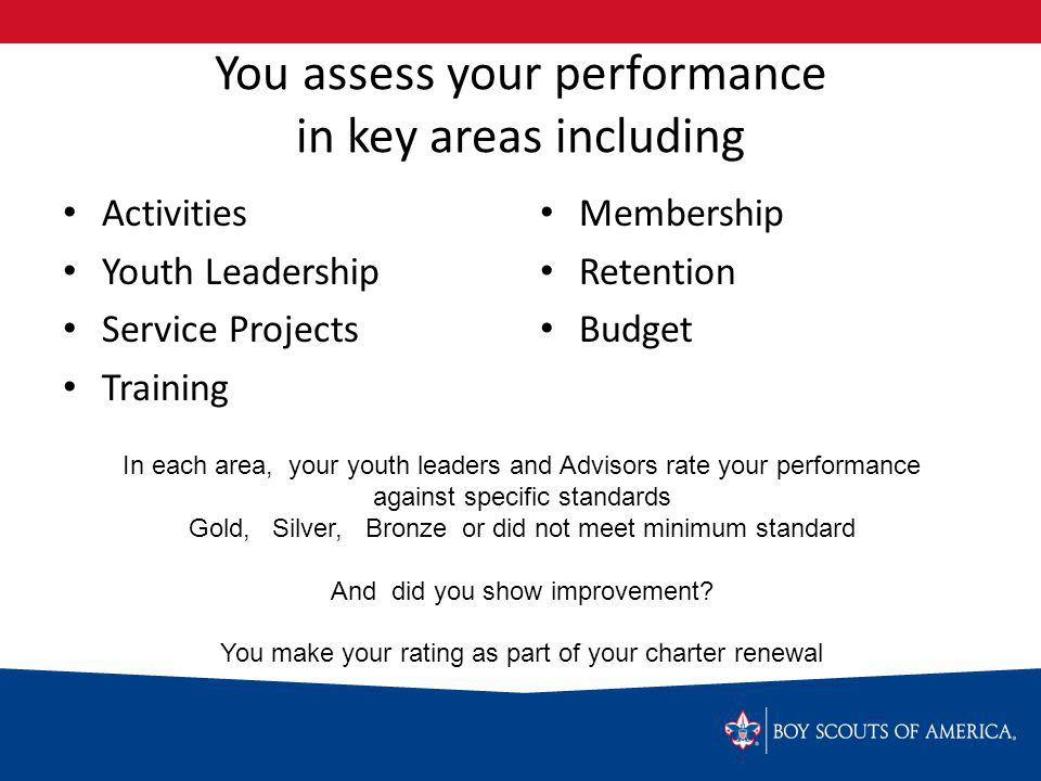 You assess your performance in key areas including Activities Youth Leadership Service Projects Training Membership Retention Budget In each area, your youth leaders and Advisors rate your performance against specific standards Gold, Silver, Bronze or did not meet minimum standard And did you show improvement.