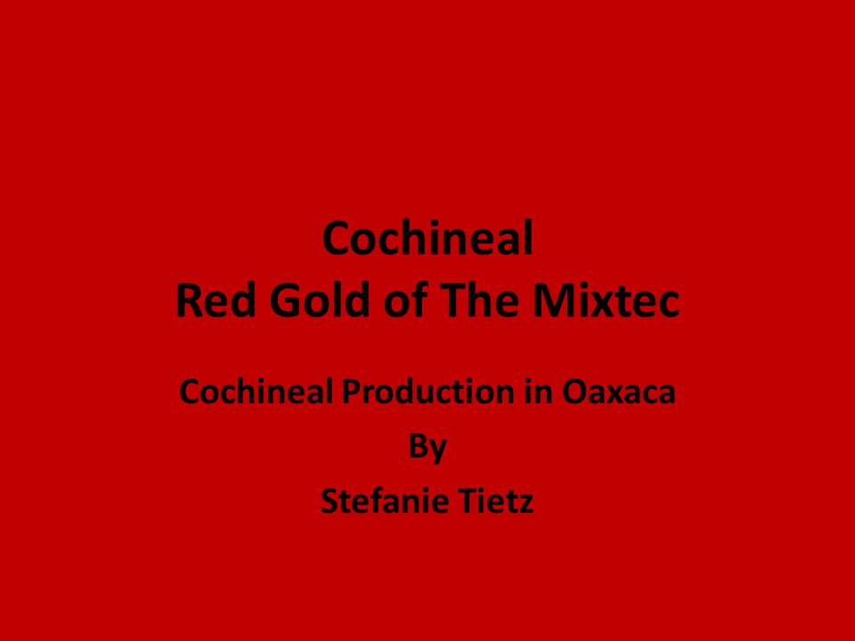Cochineal Red Gold of The Mixtec Cochineal Production in Oaxaca By Stefanie Tietz