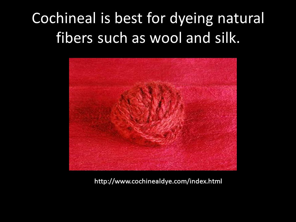 Cochineal is best for dyeing natural fibers such as wool and silk.