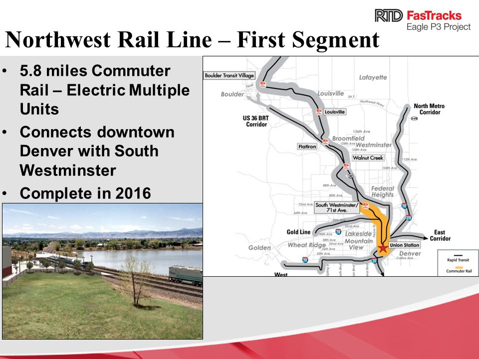 Northwest Rail Line – First Segment 5.8 miles Commuter Rail – Electric Multiple Units Connects downtown Denver with South Westminster Complete in 2016