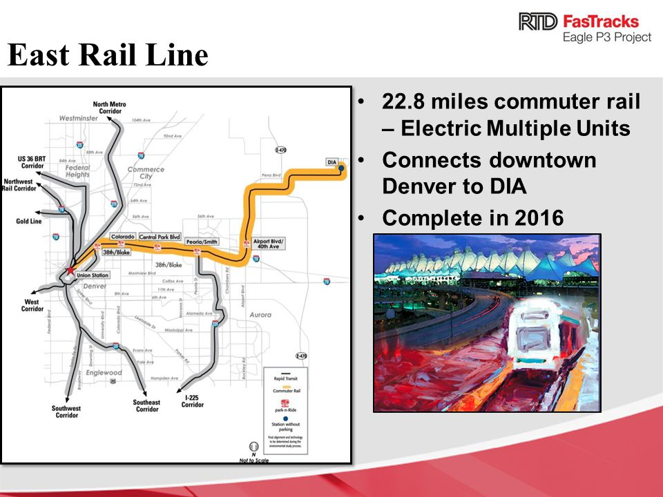 East Rail Line 22.8 miles commuter rail – Electric Multiple Units Connects downtown Denver to DIA Complete in 2016
