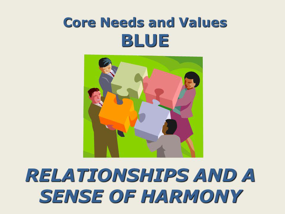 Core Needs and Values GREEN INTELLECTUAL COMPETENCE (INFORMATION AND KNOWLEDGE)