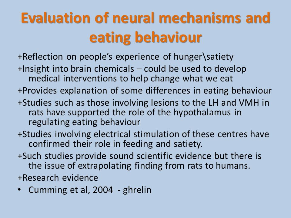 Evaluation of neural mechanisms and eating behaviour +Reflection on peoples experience of hunger\satiety +Insight into brain chemicals – could be used