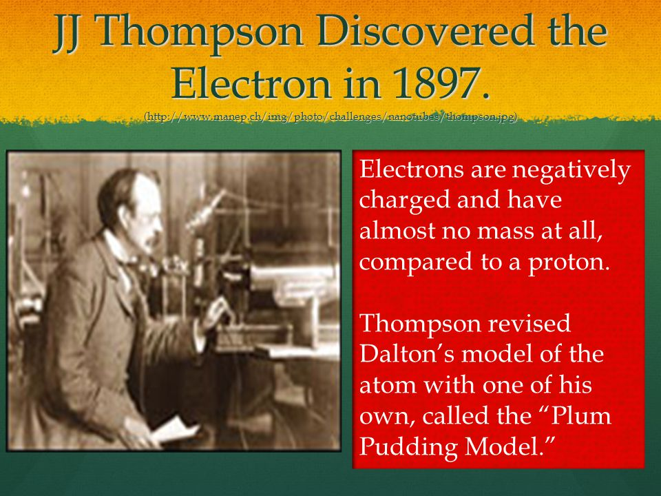 JJ Thompson Discovered the Electron in 1897.