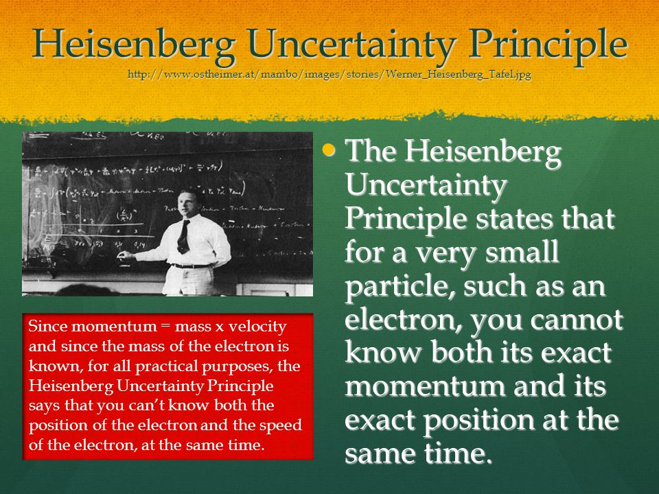 Heisenberg Uncertainty Principle http://www.ostheimer.at/mambo/images/stories/Werner_Heisenberg_Tafel.jpg The Heisenberg Uncertainty Principle states that for a very small particle, such as an electron, you cannot know both its exact momentum and its exact position at the same time.