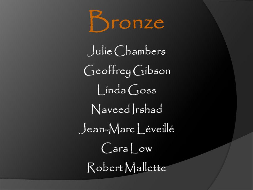 Geoffrey Gibson Naveed Irshad Jean-Marc Léveillé Robert Mallette Julie Chambers Linda Goss Cara Low Bronze