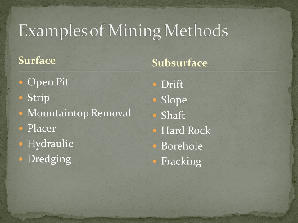 Surface Drift Slope Shaft Hard Rock Borehole Fracking Subsurface Open Pit Strip Mountaintop Removal Placer Hydraulic Dredging