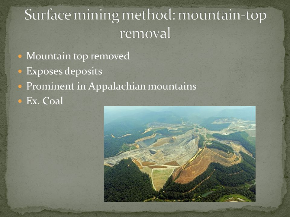 Gold Mining Placer Deposits (gravity separation) Panning Sluicing Dredging Hard Rock Deposits Open pit Hydraulic mining (sometimes with Hg) Subsurface - S.