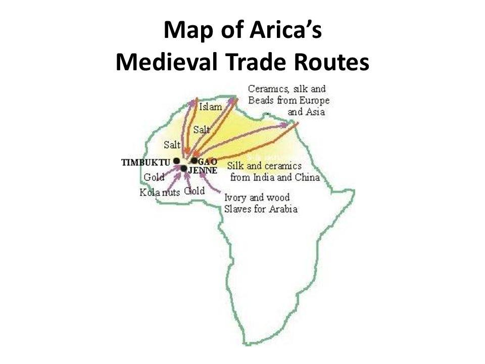 Map of Aricas Medieval Trade Routes