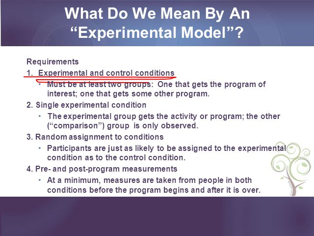 What Do We Mean By An Experimental Model? Requirements 1.Experimental and control conditions Must be at least two groups: One that gets the program of