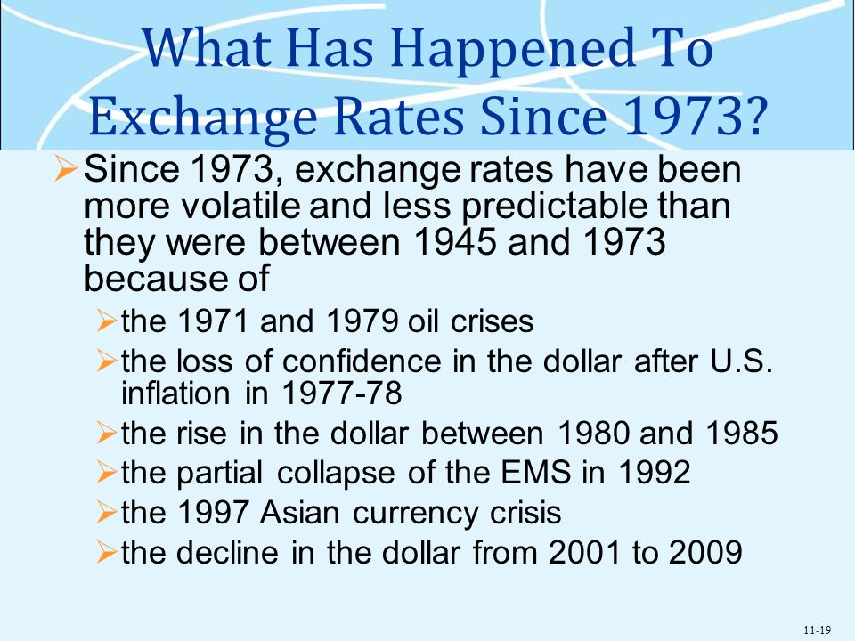 11-19 What Has Happened To Exchange Rates Since 1973? Since 1973, exchange rates have been more volatile and less predictable than they were between 1