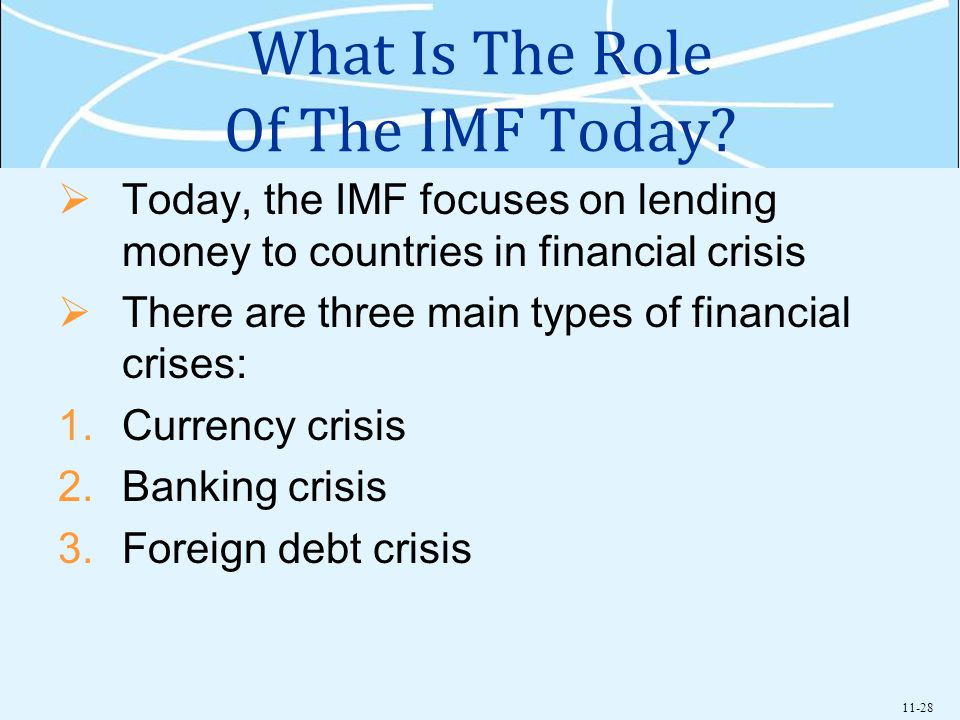 11-28 What Is The Role Of The IMF Today? Today, the IMF focuses on lending money to countries in financial crisis There are three main types of financ