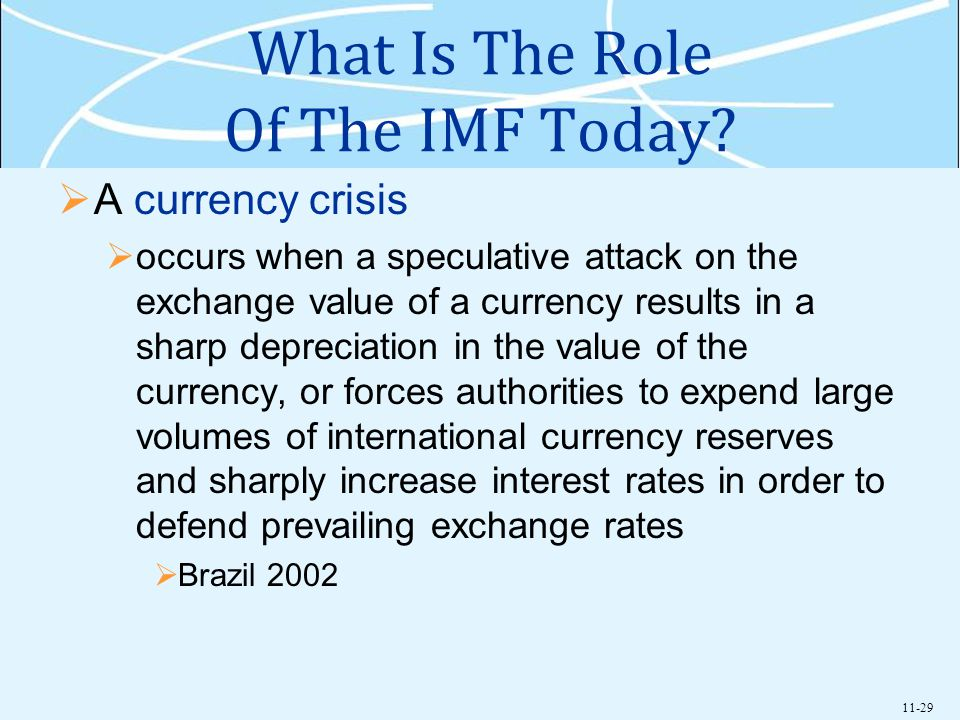 11-29 What Is The Role Of The IMF Today? A currency crisis occurs when a speculative attack on the exchange value of a currency results in a sharp dep