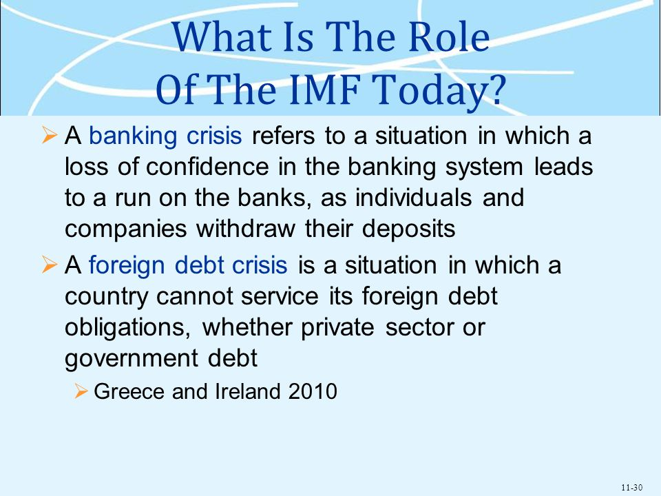 11-30 What Is The Role Of The IMF Today? A banking crisis refers to a situation in which a loss of confidence in the banking system leads to a run on