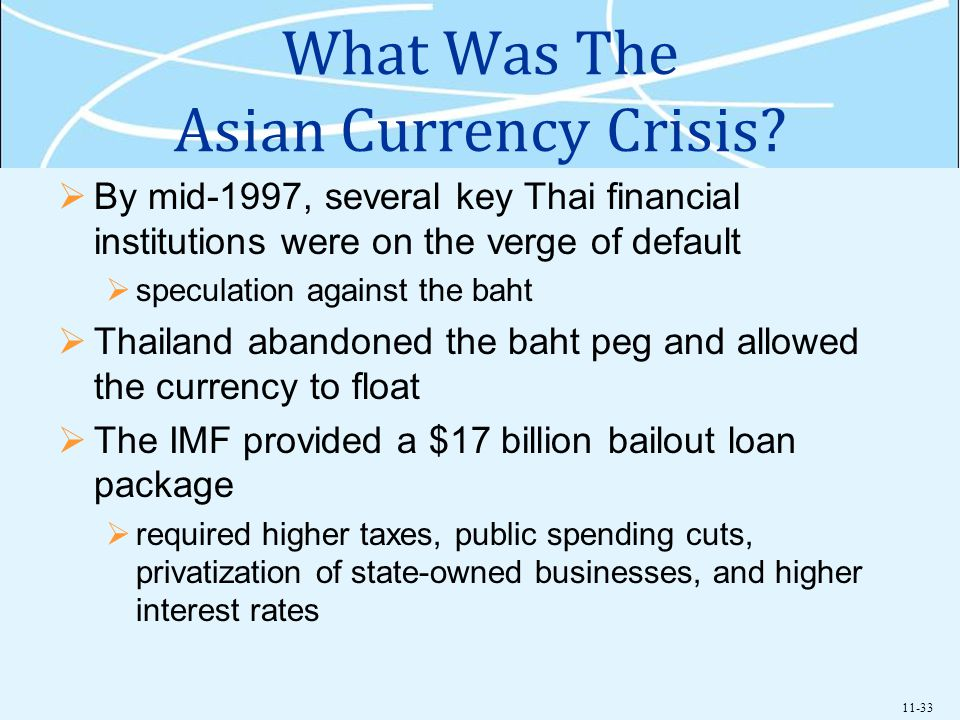 11-33 What Was The Asian Currency Crisis? By mid-1997, several key Thai financial institutions were on the verge of default speculation against the ba